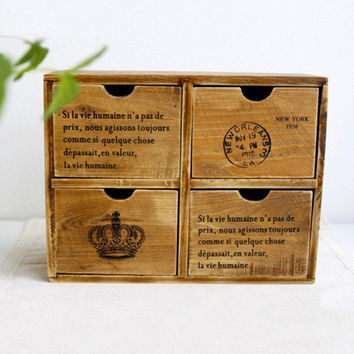 Retro Wood Storage Box Case Container Jewelry Box Decorative Crown Four Drawers