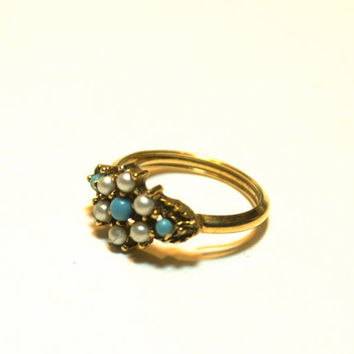 Faux Turquoise and Pearl Ring Adjustable Gold Tone Avon