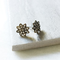 Antiqued Gold Starburst Earrings
