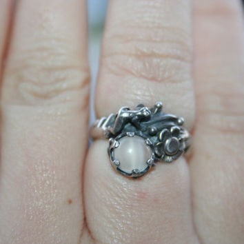 HUGE SALE...Vintage Sterling Silver  Frog around flower  with  moonstone   Ring Twig Diorama   in size 6 and 3/4