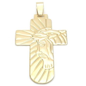 Gold Layered 05.16.0136.1 Religious Pendant, Cross and Jesus Design, Polished Finish, Golden Tone