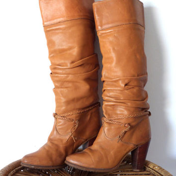 70's Zodiac Caramel Tall Leather Boots Size 6.5 Slouchy Braided Vintage Stacked Heel 6 1/2
