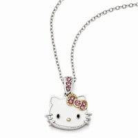 Sterling Silver Hello Kitty Enamel, Pink Crystal Gold-Tone Necklace