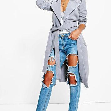 Petite Nicole Belted Wool Look Robe Duster Coat