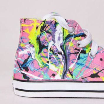 ICIKGQ8 toddler pink high top splatter painted converse sneakers toddler size 9 neon sign col