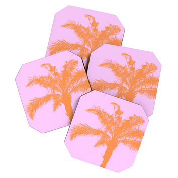 Deb Haugen Orange Palm Coaster Set