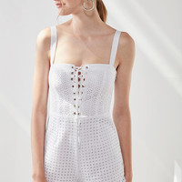 Kimchi Blue Heidi Lace-Up Eyelet Romper | Urban Outfitters