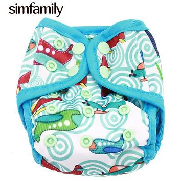 [simfamily]1PC New Born double gusset cloth diaper covers Colorful Snap Adjustable Cloth Nappies Fit 3-5kg