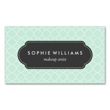 Modern Mint Quatrefoil Professional Double-Sided Standard Business Cards (Pack Of 100)