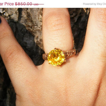 20% OFF 7 ct Yellow Zircon & 14kt Rose Gold Ring
