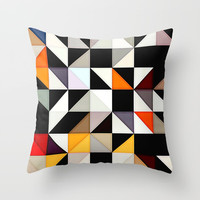 Black and white tile pattern with Red and Orange accents Throw Pillow by Sheila Wenzel