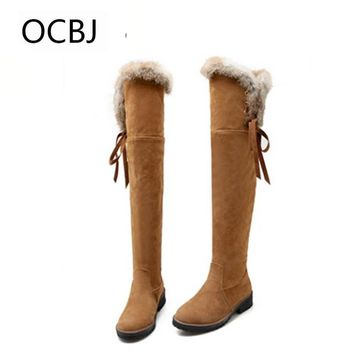 Solid Fur Knee High Snow Boots Women's Fashion Winter botas mujer Warm Long Plush Platform Flats Thigh Female Shoes Leather