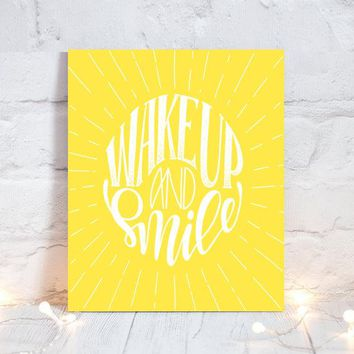 WALL ART QUOTE, Wake Up and Smile, Office Quotes, Inspirational Quote, Motivational Quote, Typography Decor, Single Canvas or Print Pictures