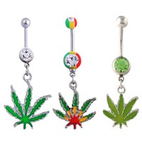 Green Maple Leaf Navel Piercing Belly Button Ring