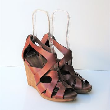 Cole Haan 'Air Kimry' Strappy Sequoia Brown Stacked Platform Sandals 10