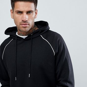 boohooMAN Raglan Hoodie With Piping Detail In Black at asos.com