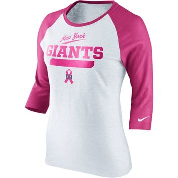 Nike New York Giants Women's Breast Cancer Awareness Crucial Catch Raglan T-Shirt - White/Pink