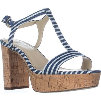 Charles by Charles David Miller T-Strap Platform Sandals, Navy Striped, 7.5 US