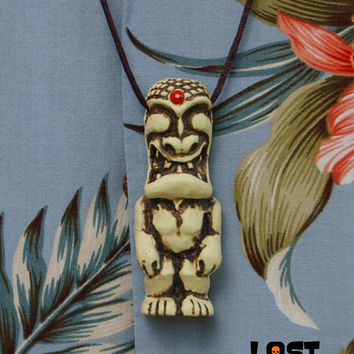 Mini War God Tiki Pendant with Red Jewel