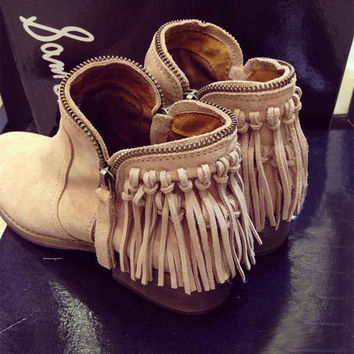 Winter With Heel Tassels Leather Zippers Dr Martens Boots [4920470660]