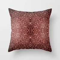 Beautiful Glam Marsala Brown-Red Glitter sparkles Throw Pillow by PLdesign