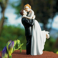 New Arrival True Romance Groom Lifting Bride Figurine Resin Wedding Cake Topper (Color: Multicolor)