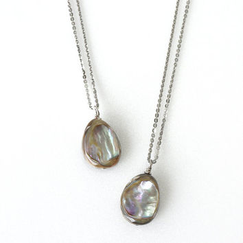 Simple Abalone Shell Pendant Necklace on Stainless Steel Chain, Gift For Best Friends