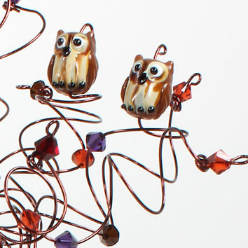 Owl Wedding Cake Topper Custom Wire Tree Sculpture with Two Owls or Love Birds