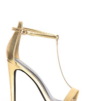 Shiny Gold Faux Snake Skin T Strap Single Sole Heels