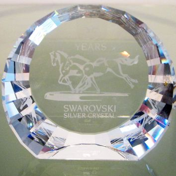 Swarovski 25 Years Silver Crystal Paperweight, Running Horses