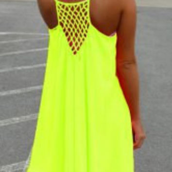 Strappy Racerback Cut Out Chiffon Dress