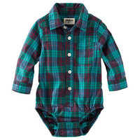 Plaid Button-Front Bodysuit