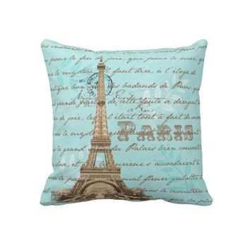 Paris Vintage French Writing Aqua Pillow