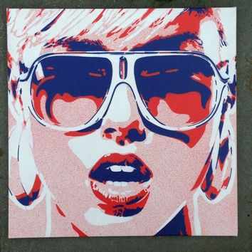 Pop art woman painting,canvas,stencil art,spray paint art,sunglasses,red,blue,earings,abstract,portrait,girl,her,home living,artwork,design