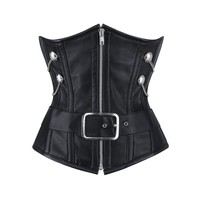 Terry Goth Leather Underbust Corset NS-1448