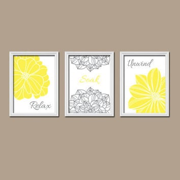 Yellow Gray Shower Curtain Bathroom Wall Art Canvas Artwork White Flower Set of 3 Trio Prints Decor Relax Soak Unwind Quote Bath Match Three