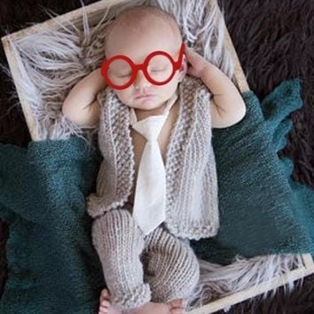 Grey pants vest glasses  Newborn Baby Prop Hat Crochet Knit Outfit - CCC310