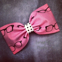 Nerdy glasses pink retro pinup rockabilly fabric hair bow