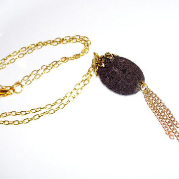 Aroma Therapy Personal Diffuser Necklace, Large Lava Rock with Goldtone Tassel and Chain, Essential Oil Diffuser Necklace, Perfume Diffuser