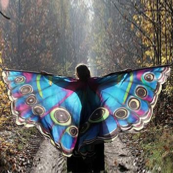 Pink and Blue Mesh Butterfly Moth Shawl Cape Dance Costume Rave Wear Halloween