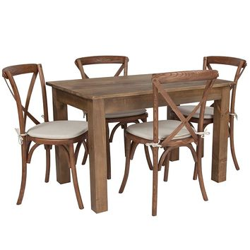 """46"""" x 30"""" Antique Rustic Farm Table Set with 4 Cross Back Chairs and Cushions [XA-FARM-17-GG]"""
