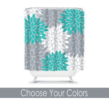 Turquoise Gray SHOWER CURTAIN Custom MONOGRAM Personalized Bathroom Decor Flower Burst Pattern Beach Towel Plush Bath Mat Made in Usa