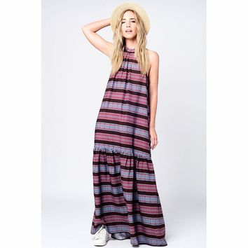 Maxi dress in navy print
