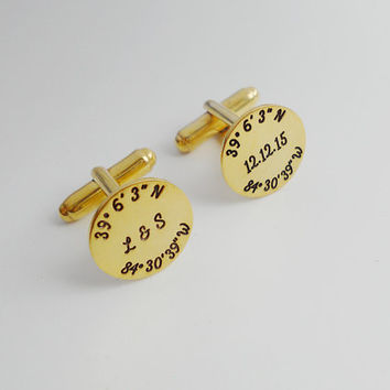 Gold Latitude longitude Cufflinks,Engraved Coordinates Cufflinks,Personalized Initials and Date Cufflinks,Wedding Date Cufflinks