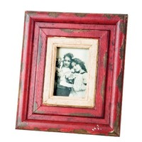Wilco Imports  Rustic Wood Frame Red and Cream