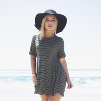 Rival Stripe & Ribbed Shift Dress & Tunic In Olive