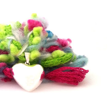 Pregnancy harmony bell, heart shape, gift for pregnant woman, necklace woven by hand, pink, fuchsia, green, light blue, ashy blue