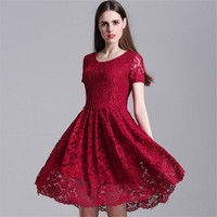 Round Neck Cut-out Big Hem Short Sleeve Short European Style Dresses Lace Dress