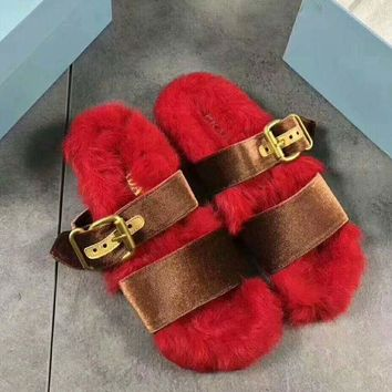 onetow One-nice? PRADA Rabbit Hair Casual Sandal Slipper Shoes Flip Red I-AGG-CZDL