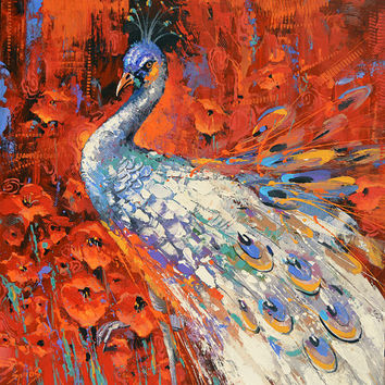 "White Peacock  -  Wall Art Oil Painting on canvas by Dmitry Spiros. Size: 28""x28""  (70x70 cm)"